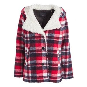 Steve Madden 2X Red Plaid Sherpa Hooded Jacket